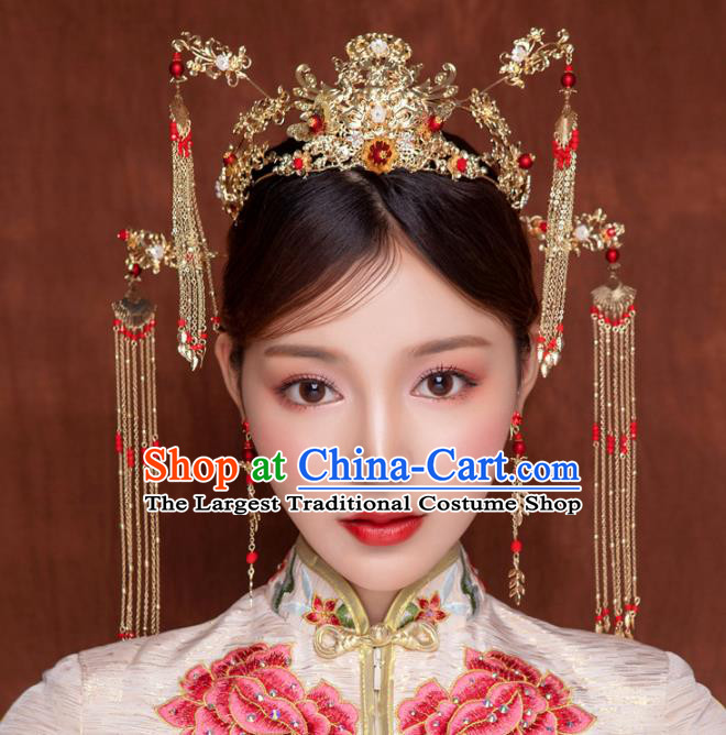 Chinese Traditional Wedding Bride Phoenix Coronet Ancient Hair Accessories Hairpins for Women