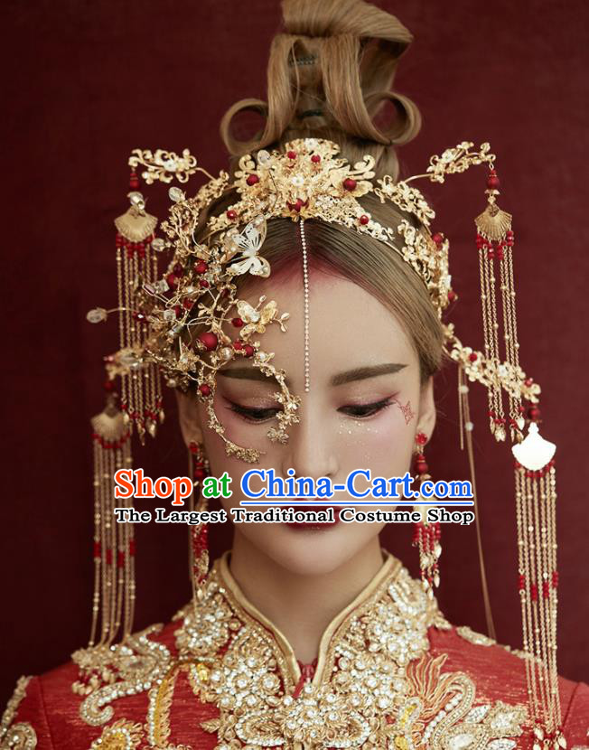 Chinese Traditional Wedding Bride Hair Accessories Ancient Tassel Phoenix Coronet Hairpins for Women