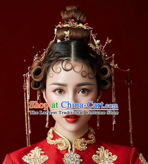 Chinese Traditional Wedding Bride Hair Accessories Ancient Tassel Step Shake Hairpins for Women