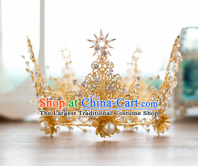 Top Grade Wedding Hair Accessories Baroque Princess Retro Round Crystal Royal Crown for Women