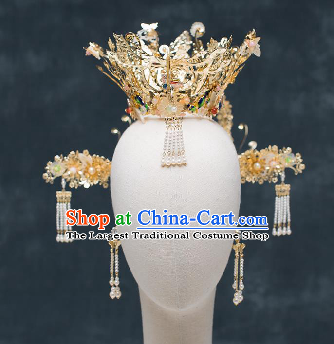 Chinese Traditional Wedding Bride Golden Phoenix Coronet Hair Accessories Ancient Hairpins for Women