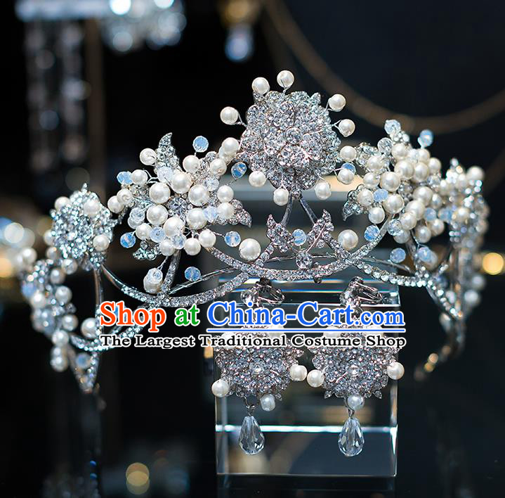 Top Grade Wedding Bride Hair Accessories Baroque Queen Zircon Pearls Royal Crown for Women