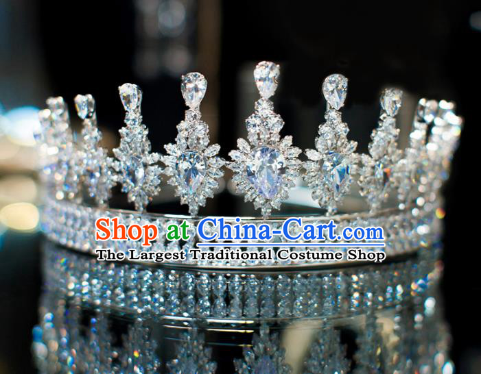 Top Grade Wedding Bride Hair Accessories Baroque Queen Zircon Royal Crown for Women