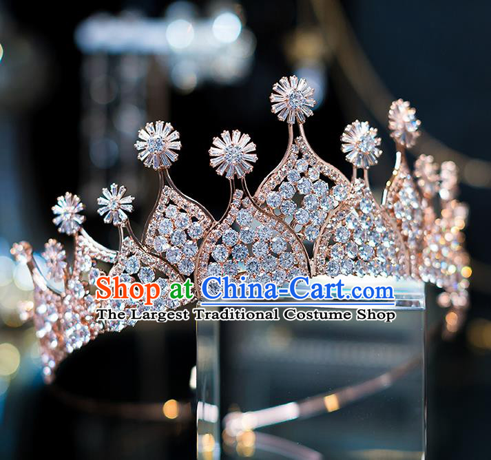 Top Grade Wedding Bride Hair Accessories Baroque Queen Zircon Golden Royal Crown for Women