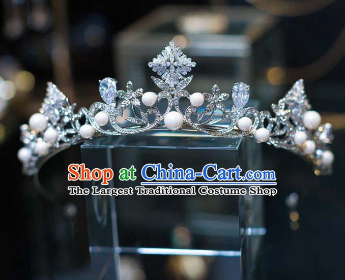 Top Grade Baroque Princess Crystal Pearls Royal Crown Wedding Bride Hair Accessories for Women