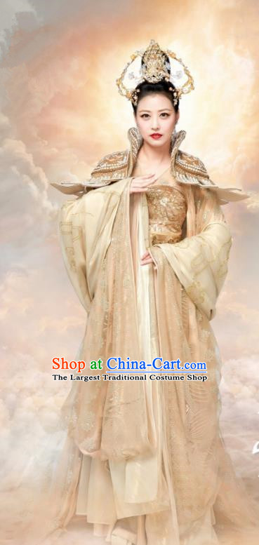 Chinese Ancient Empress Hanfu Dress The Honey Sank Like Frost Ashes of Love Queen Costumes and Headpiece for Women