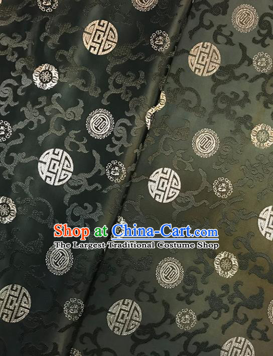 Asian Chinese Traditional Palace Pattern Atrovirens Brocade Fabric Silk Fabric Chinese Fabric Material
