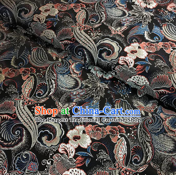 Asian Chinese Traditional Palace Pattern Black Brocade Fabric Silk Fabric Chinese Fabric Material