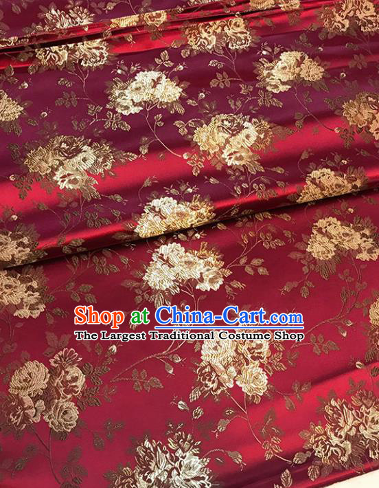 Asian Chinese Traditional Palace Pattern Wine Red Brocade Fabric Silk Fabric Chinese Fabric Material