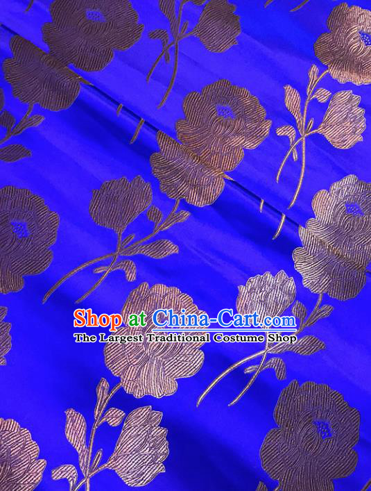 Asian Chinese Traditional Palace Peony Pattern Blue Brocade Fabric Silk Fabric Chinese Fabric Material