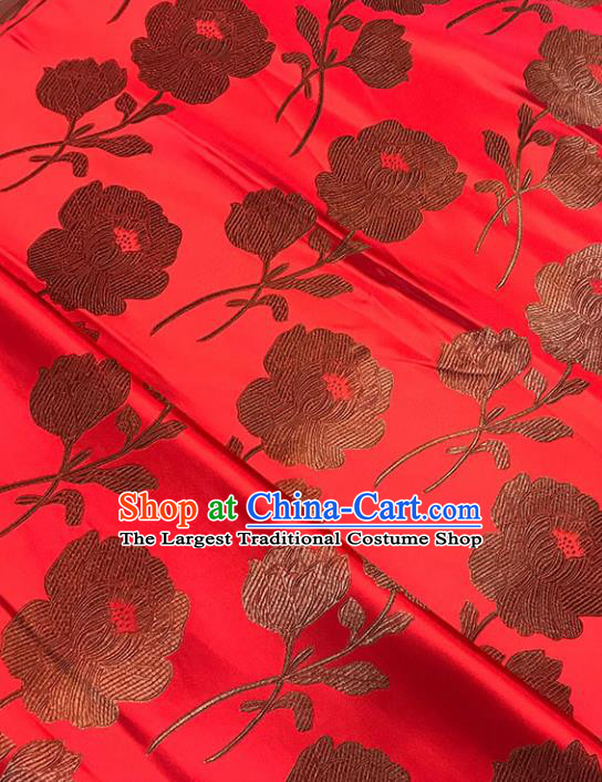 Asian Chinese Traditional Palace Peony Pattern Red Brocade Fabric Silk Fabric Chinese Fabric Material