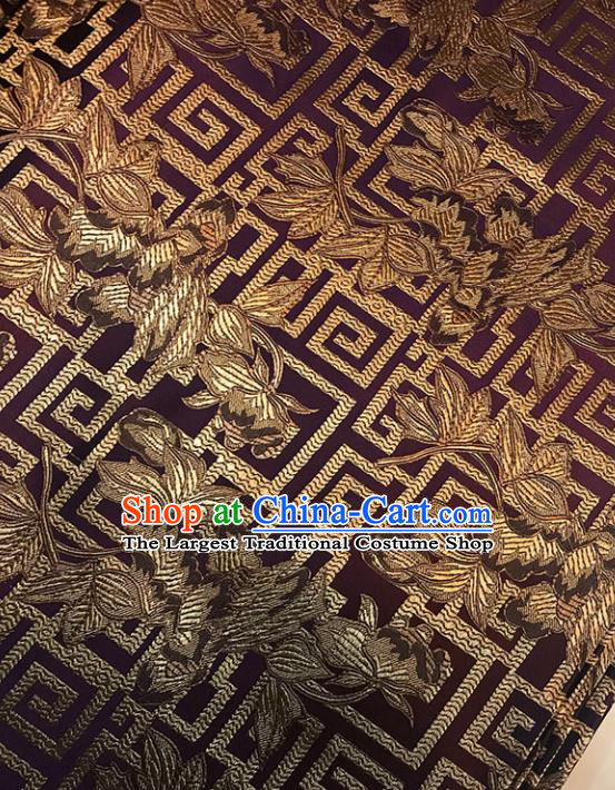 Asian Chinese Traditional Pattern Purple Brocade Fabric Silk Fabric Chinese Fabric Material