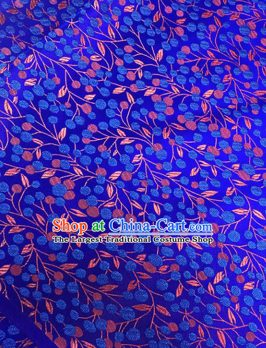 Asian Chinese Traditional Pattern Royalblue Brocade Fabric Silk Fabric Chinese Fabric Material