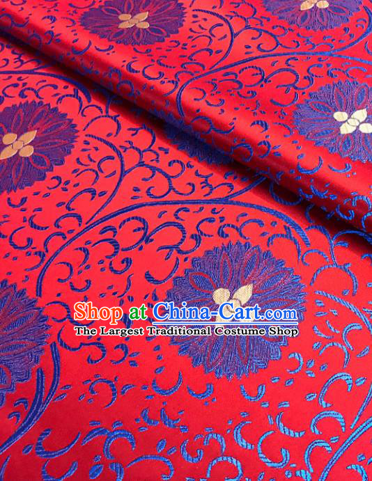 Asian Chinese Traditional Cheongsam Palace Pattern Red Brocade Fabric Silk Fabric Chinese Fabric Material