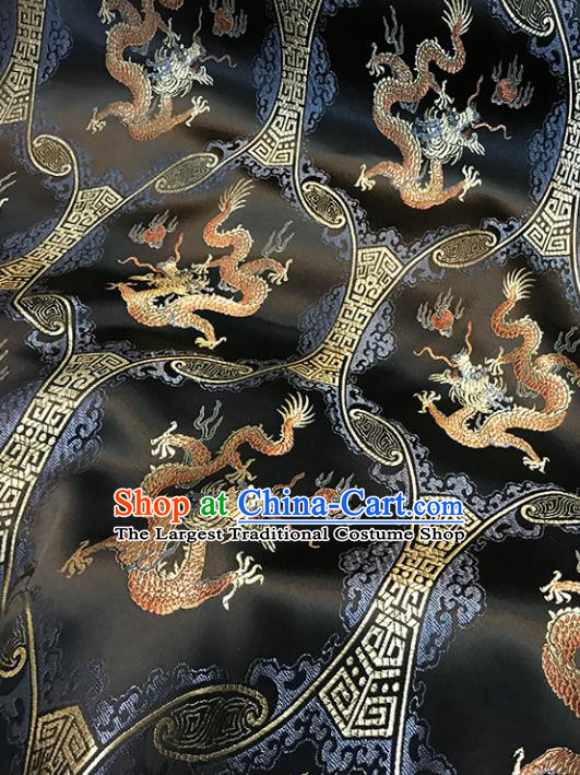 Black Brocade Asian Chinese Traditional Dragons Pattern Fabric Silk Fabric Chinese Fabric Material
