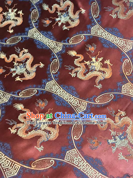 Purplish Red Brocade Asian Chinese Traditional Dragons Pattern Fabric Silk Fabric Chinese Fabric Material