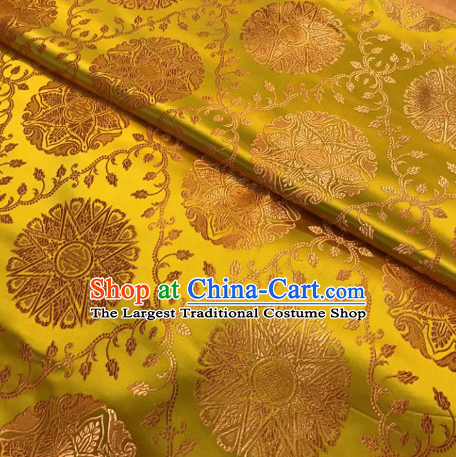 Golden Brocade Asian Chinese Traditional Palace Pattern Fabric Silk Fabric Chinese Fabric Material