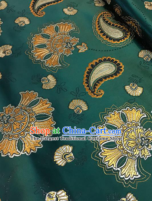 Atrovirens Brocade Asian Chinese Traditional Palace Pattern Fabric Silk Fabric Chinese Fabric Material