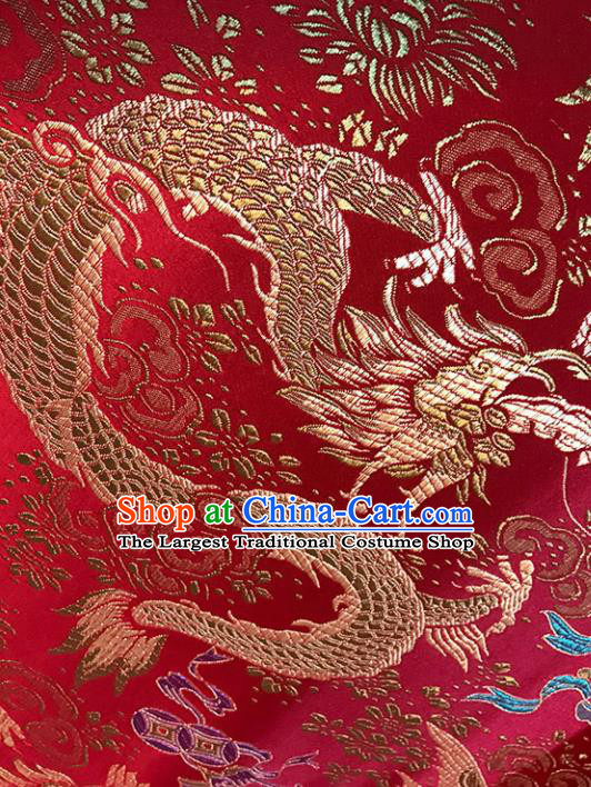 Red Brocade Asian Chinese Traditional Palace Dragon Pattern Fabric Silk Fabric Chinese Fabric Material