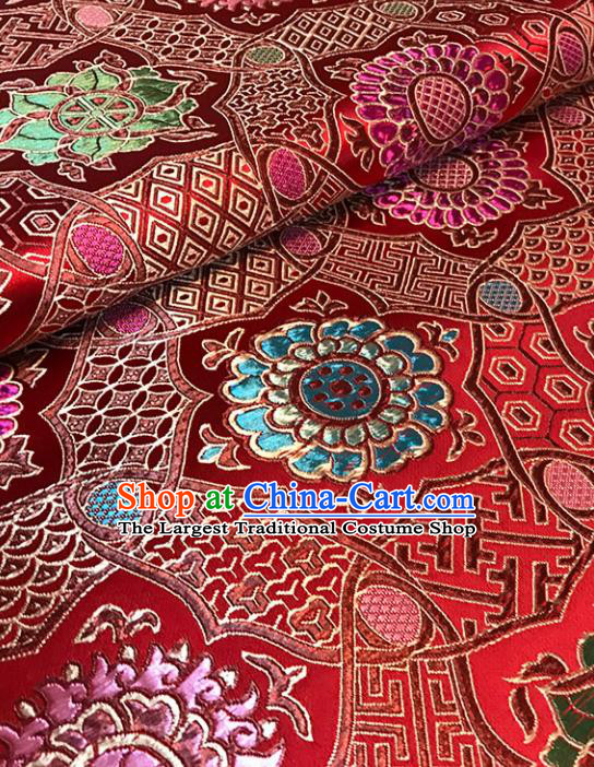 Asian Red Brocade Chinese Traditional Pattern Fabric Silk Fabric Chinese Fabric Material