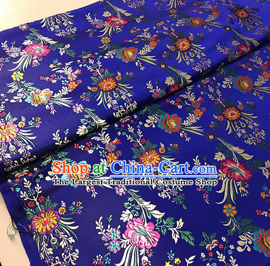 Asian Royalblue Brocade Chinese Traditional Begonia Pattern Fabric Silk Fabric Chinese Fabric Material