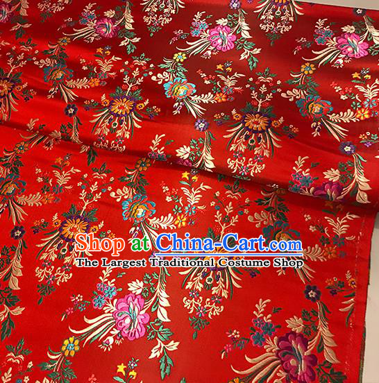 Asian Red Brocade Chinese Traditional Begonia Pattern Fabric Silk Fabric Chinese Fabric Material
