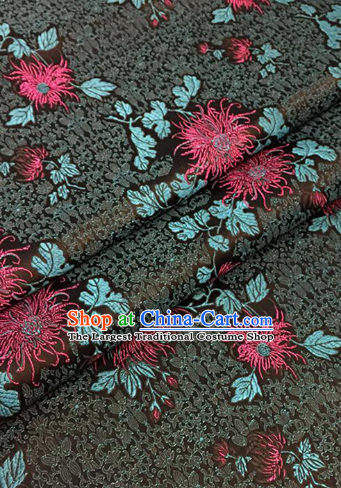 Asian Chinese Black Brocade Traditional Chrysanthemum Pattern Fabric Silk Fabric Chinese Fabric Material