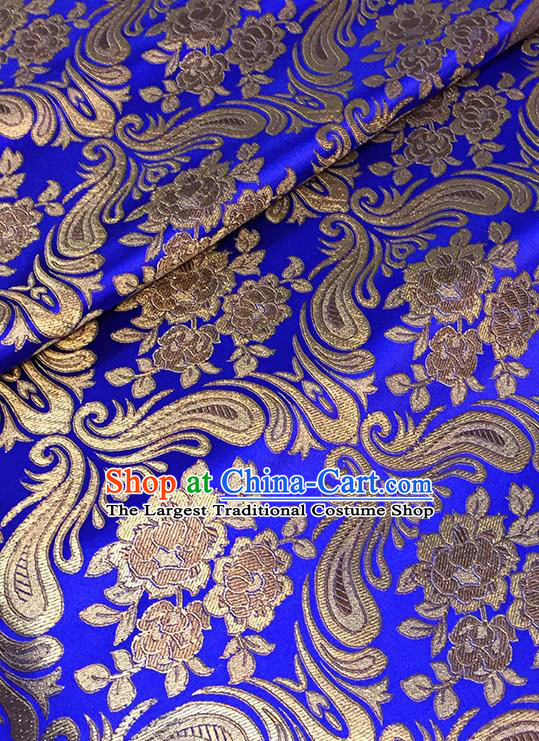 Asian Chinese Royalblue Brocade Traditional Peony Pattern Fabric Silk Fabric Chinese Fabric Material