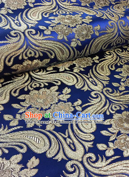 Asian Chinese Navy Brocade Traditional Peony Pattern Fabric Silk Fabric Chinese Fabric Material
