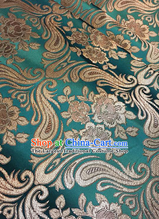 Asian Chinese Green Brocade Traditional Peony Pattern Fabric Silk Fabric Chinese Fabric Material