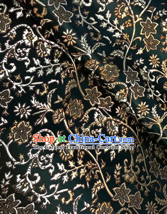 Asian Chinese Traditional Pattern Atrovirens Brocade Fabric Silk Fabric Chinese Fabric Material
