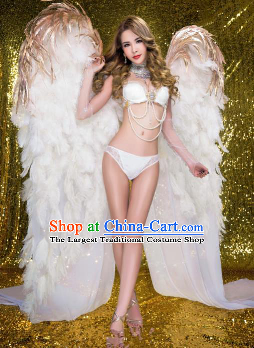Stage Performance Brazilian Carnival White Feather Wings Miami Deluxe Wings for Women
