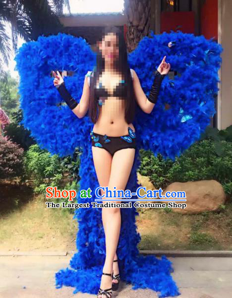 Stage Performance Brazilian Carnival Blue Feather Wings Miami Deluxe Wings for Women