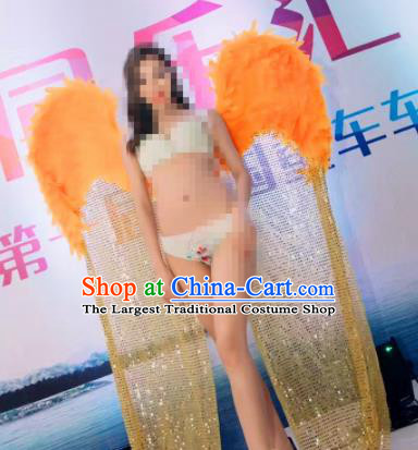 Stage Performance Brazilian Carnival Orange Feather Wings Miami Deluxe Wings for Women