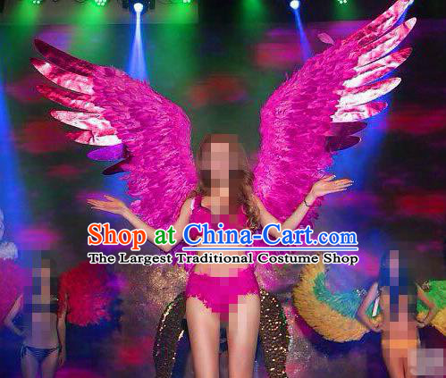 Stage Performance Brazilian Carnival Feather Wings Miami Deluxe Rosy Feather Wings for Women