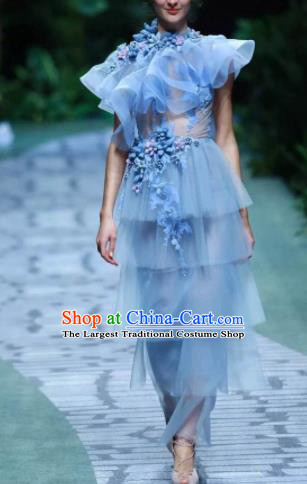 Top Grade Modern Fancywork Costumes Catwalks Blue Veil Dress for Women