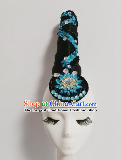 Chinese Traditional Classical Dance Blue Crystal Hair Accessories Folk Dance Headwear and Wig for Women