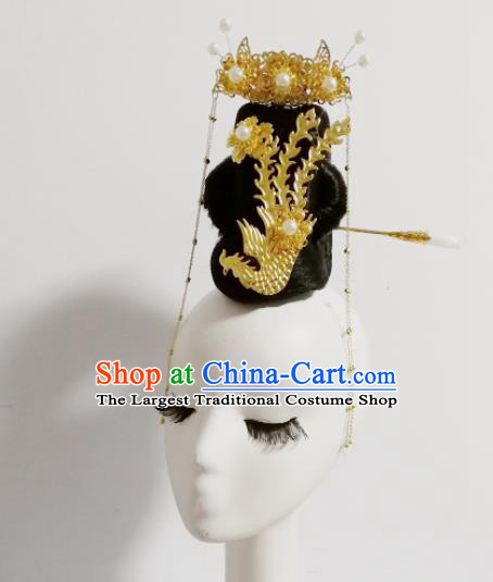 Chinese Traditional Classical Dance Phoenix Hair Accessories Folk Dance Headwear and Wig for Women