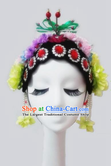 Chinese Traditional Classical Dance Headwear Beijing Opera Folk Dance Wig and Hair Accessories for Women