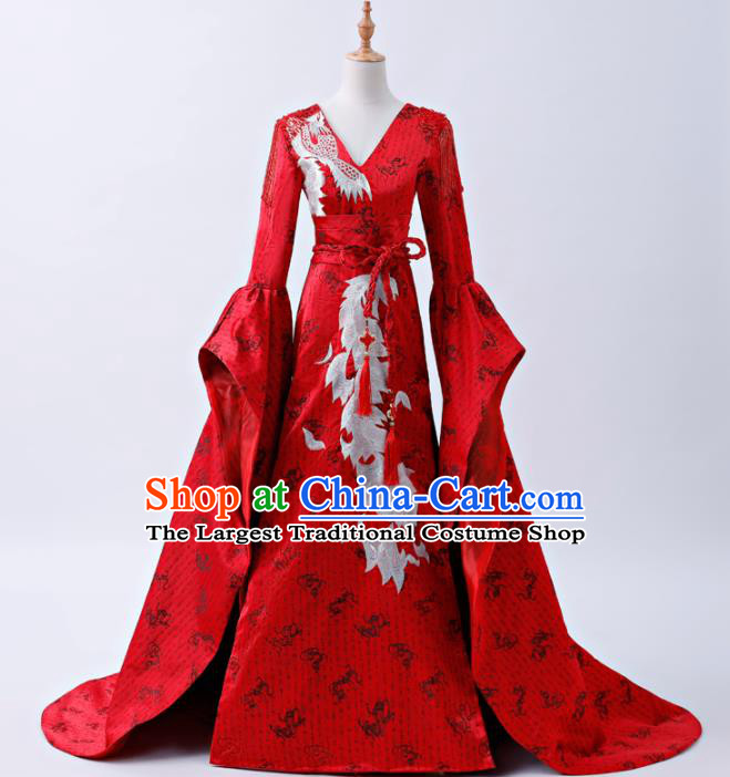 Chinese Traditional Red Cheongsam Compere Costume Full Dress for Women