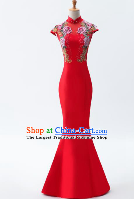 Chinese Traditional National Cheongsam Compere Costume Red Full Dress for Women