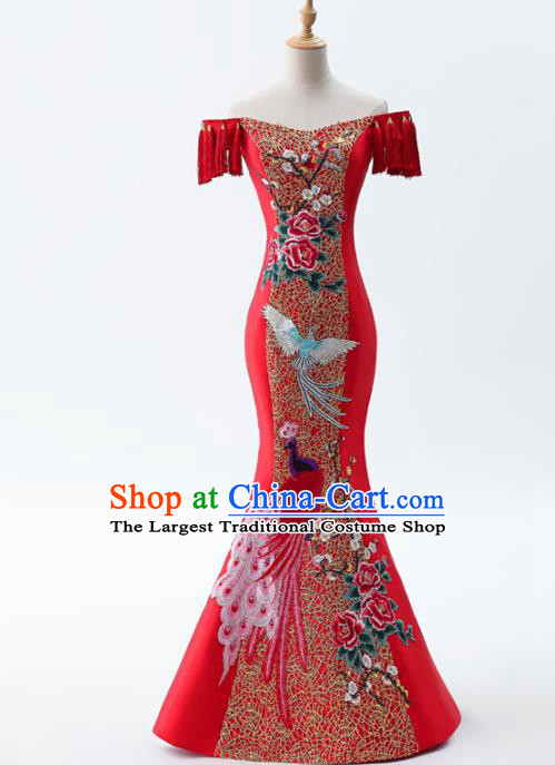 Chinese Traditional National Cheongsam Compere Costume Mermaid Red Full Dress for Women