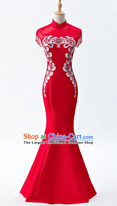 Chinese Traditional National Wedding Cheongsam Compere Chorus Costume Red Full Dress for Women