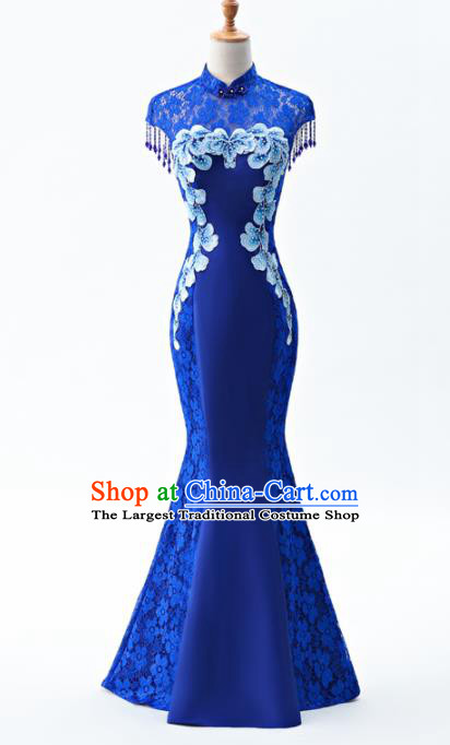 Chinese Traditional National Wedding Cheongsam Compere Chorus Costume Royalblue Full Dress for Women