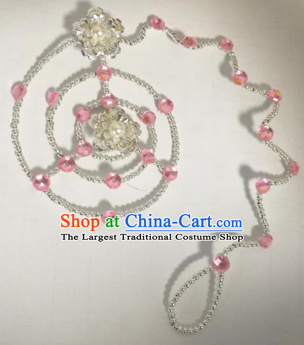 Chinese Traditional Classical Dance Pink Crystal Hair Accessories Folk Dance Headwear for Women