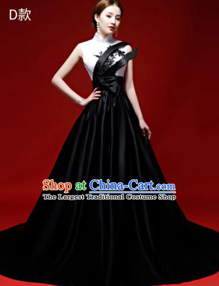 Top Grade Catwalks Black Full Dress Compere Chorus Costume for Women