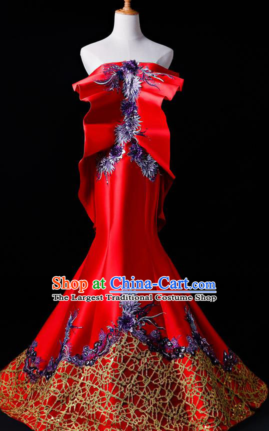 Top Grade Catwalks Red Full Dress Compere Chorus Costume for Women
