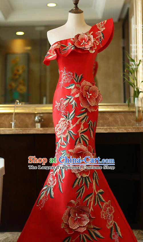 Top Grade Catwalks Embroidered Red Full Dress Compere Chorus Costume for Women