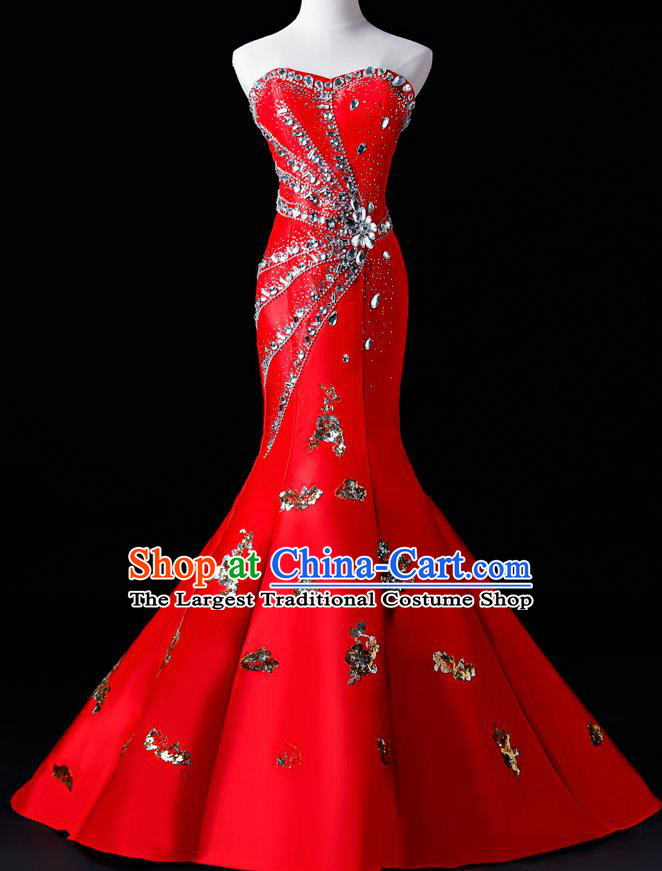Top Grade Catwalks Sequins Red Full Dress Compere Chorus Costume for Women