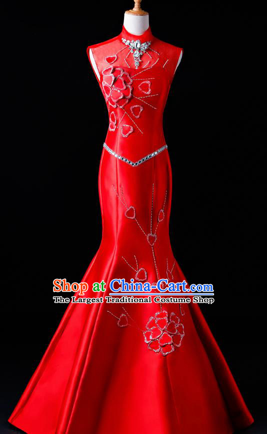 Top Grade Catwalks Diamante Red Full Dress Compere Chorus Costume for Women